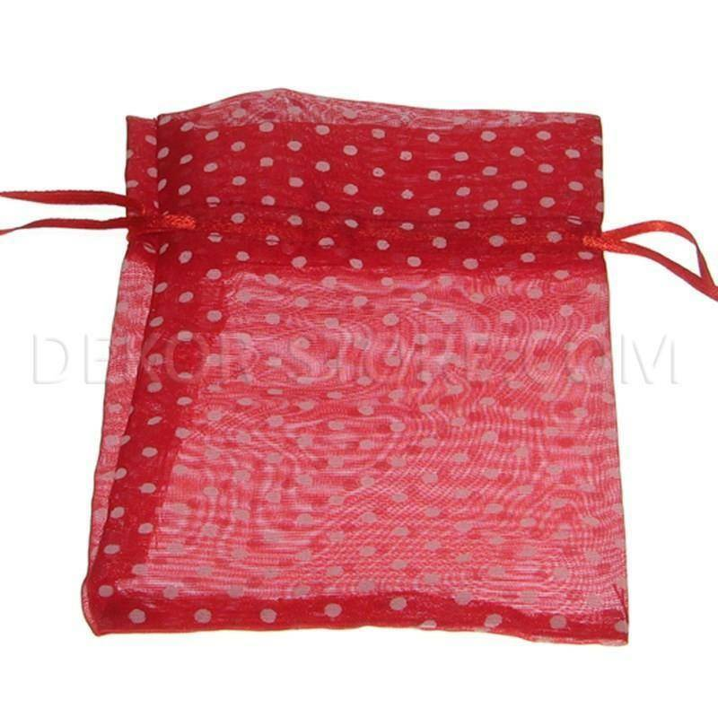 sacchetto 16x11cm rosso - organza pois