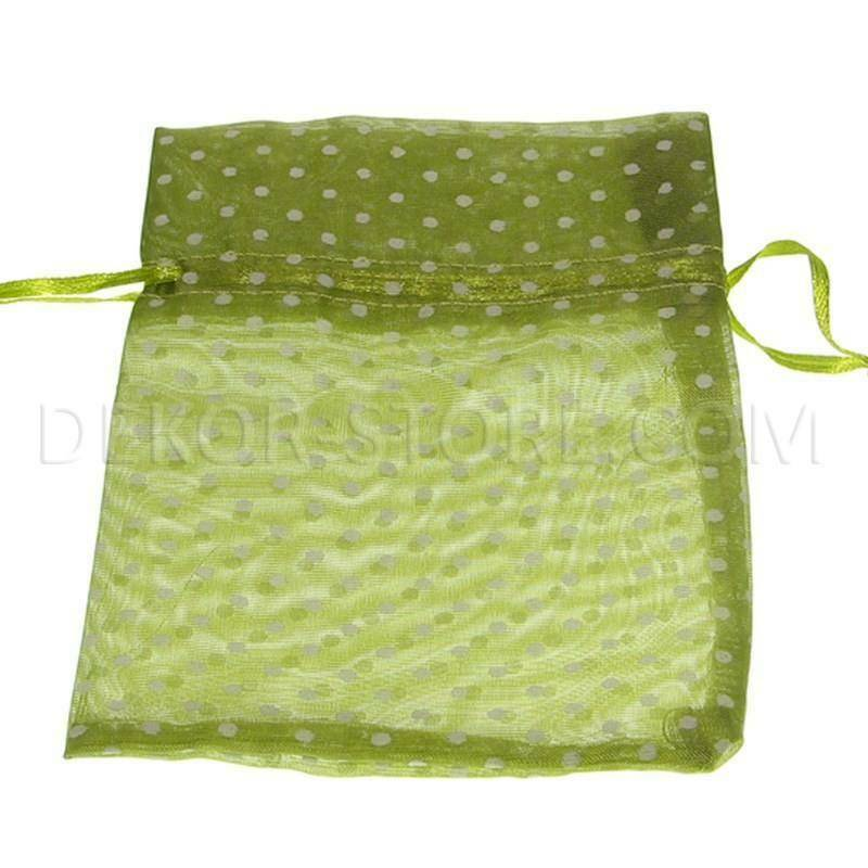star import star import sacchetto in organza pois verde - 16 x 11 cm