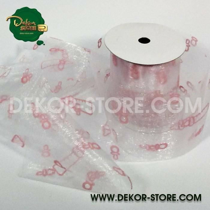 nastro organza biberon rosa 8 cm x 10 mt