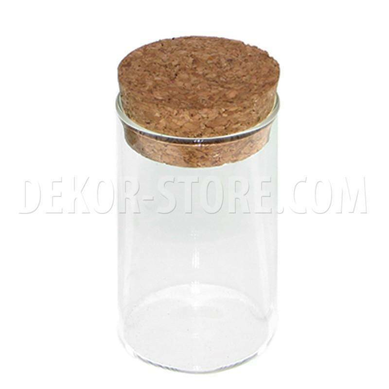 giovinazzo contenitore cilindrico in vetro con tappo in sughero - 5 x 8 cm