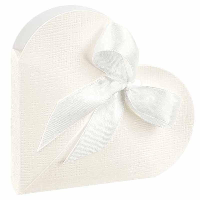 scotton spa scotton spa portaconfetti 65x15 mm a forma di cuore in cartoncino - seta bianco