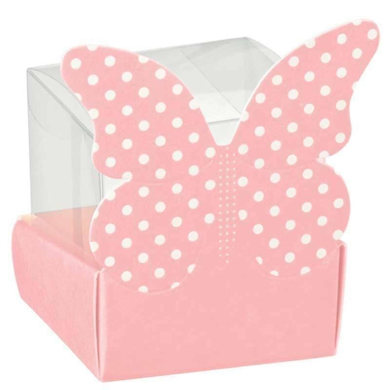 scotton spa cestello porta confetti con farfalla atelier rosa 40x40x60 mm - 5 pz