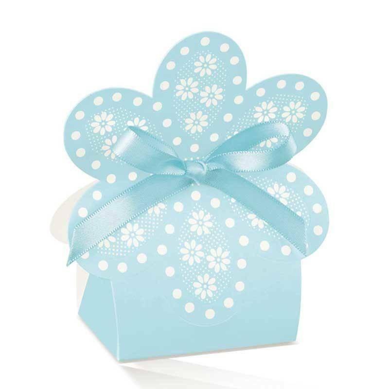 scotton spa scatolina a forma di fiore atelier azzurro 60x40x110 mm - 10 pz