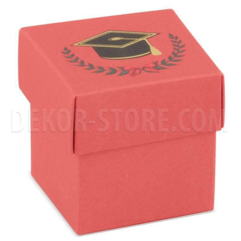 scotton spa scatolina porta confetti fondo e coperchio con alloro e tocco 50x50x50 mm - 5 pz