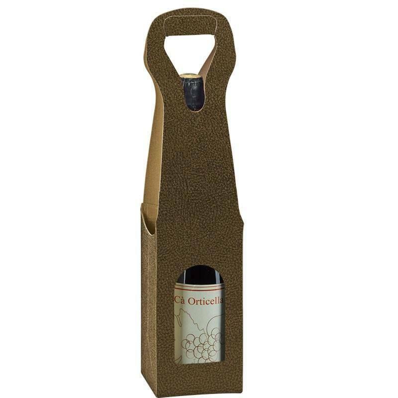 scotton spa scotton spa scatola 1 bottiglia con maniglia - pelle marrone - bag new