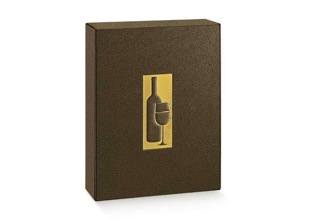 scotton spa scotton spa cantinetta 2 bottiglie 340x185x90 mm - pelle marrone