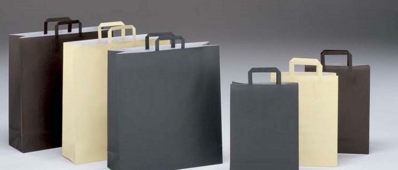 shopper in carta vaniglia con maniglia piatta - 32 x 17 x 45 cm