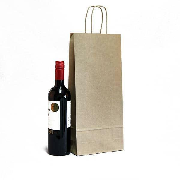 shopper portabottiglie avana in kraft con maniglia ritorta colorata - 14 x 8,5 x 39,5 cm
