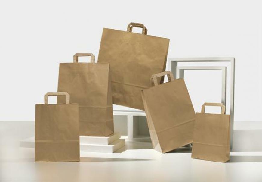 shopper in carta avana con maniglia piatta - 18 x 8 x 24 cm