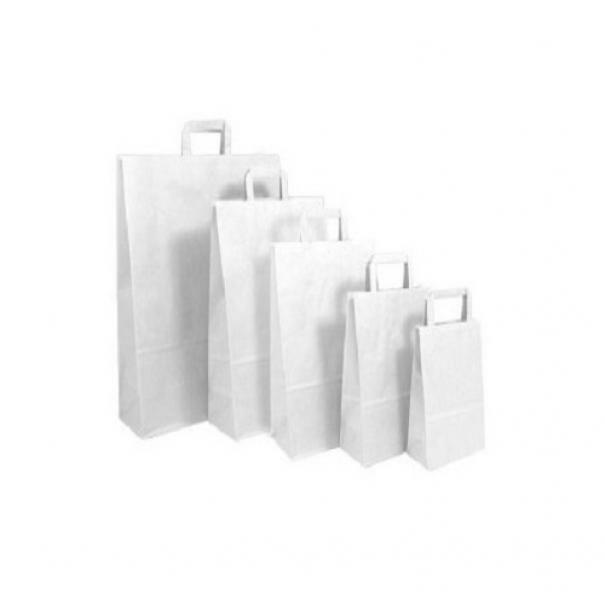 shopper in carta bianca con maniglia piatta - 27 x 12 x 37 cm