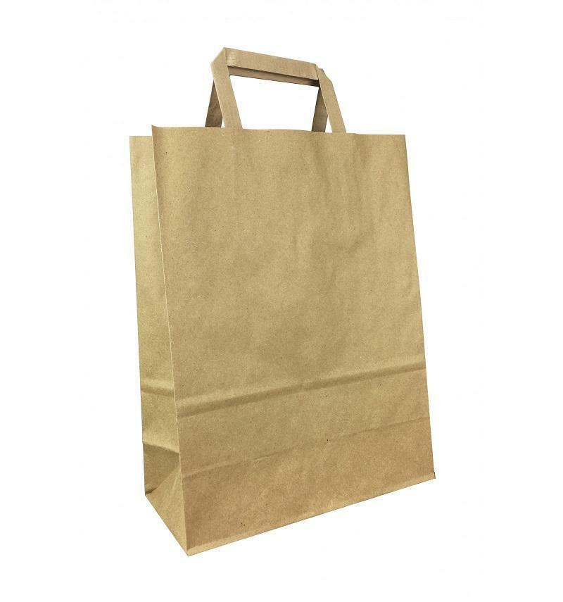 shopper in carta avana con maniglia piatta - 45 x 15 x 49 cm