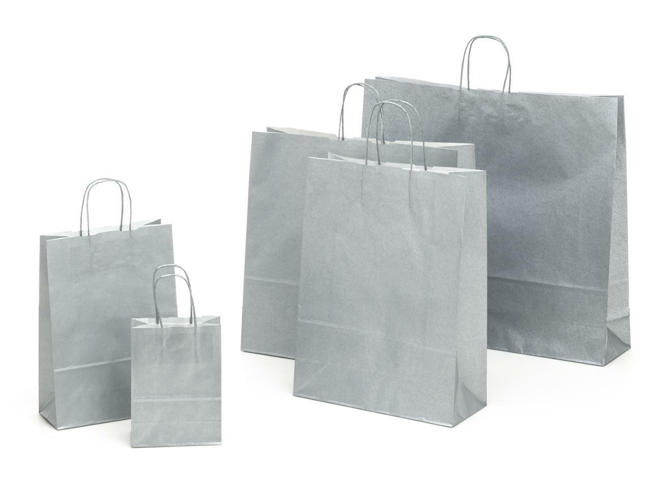 shopper in carta argento con maniglia ritorta - 14x8,5x21 cm
