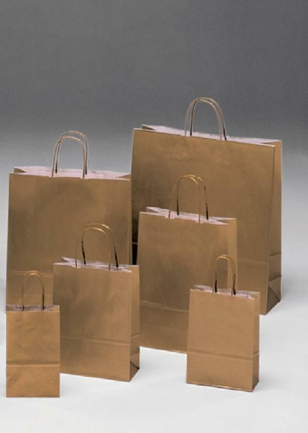 shopper in carta oro con maniglia ritorta - 18 x 8 x 24 cm