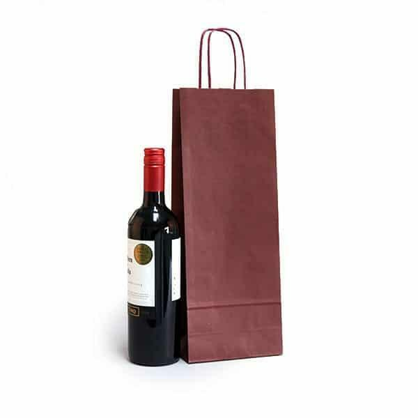 shopper portabottiglie bordeaux in sealing con maniglia ritorta colorata - 14 x 8,5 x 39,5 cm