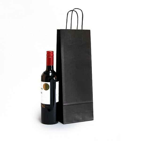 shopper portabottiglie nero in sealing con maniglia ritorta colorata - 14 x 8,5 x 39,5 cm