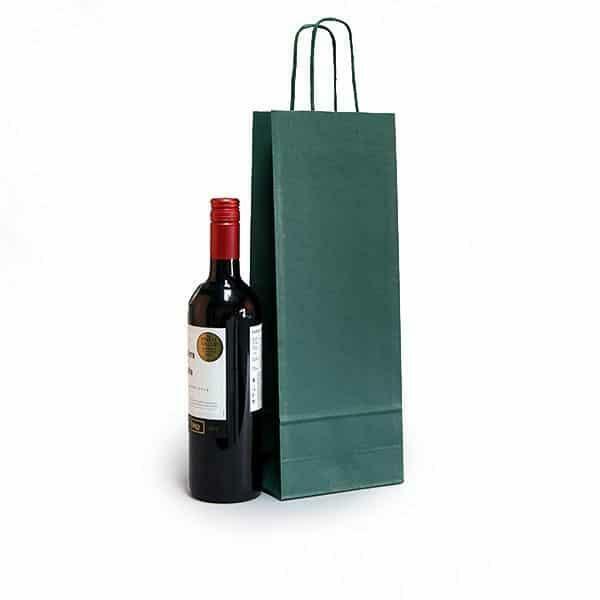 shopper portabottiglie verde in sealing con maniglia ritorta colorata - 14 x 8,5 x 39,5 cm