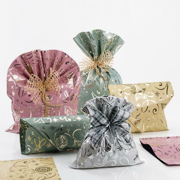 buste metallizzate xmas party rosa 35 x 50 cm - 50 pz
