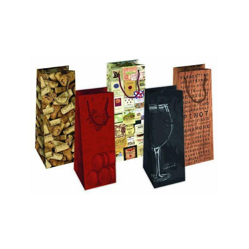 florio shopper portabottiglia in carta per vino modelli assortiti - 12x9x39 cm