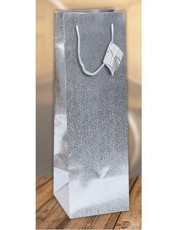 florio shopper metal groffato argento per bottiglie - 13 x 9 x 36 cm