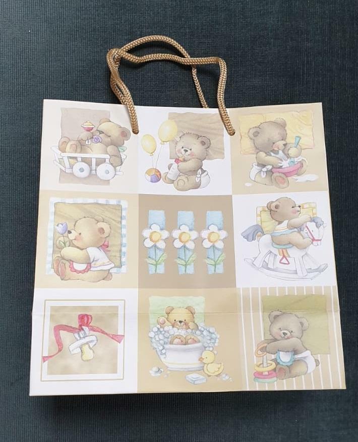 florio shopper nascita in carta plastificata opaca con orsetti - 32 x 13 x 32 cm