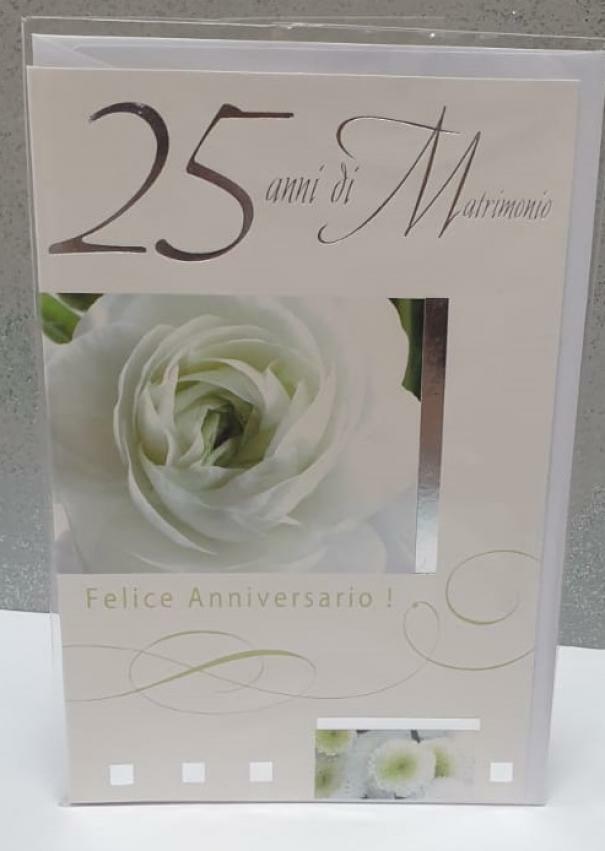 florio florio biglietto auguri 25 anni matrimonio con fiori bianchi