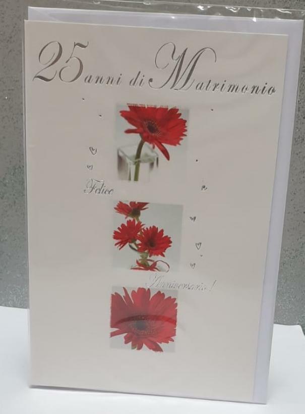 florio florio biglietto auguri 25 anni matrimonio con fiori rossi