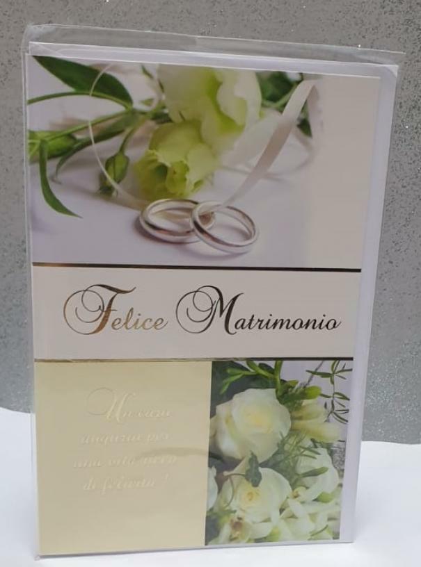 florio florio biglietto auguri matrimonio bianco con rose