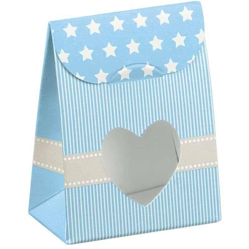 scotton spa sacchetto con finestra a cuore star azzurro 60x35x80 mm - 8 pz