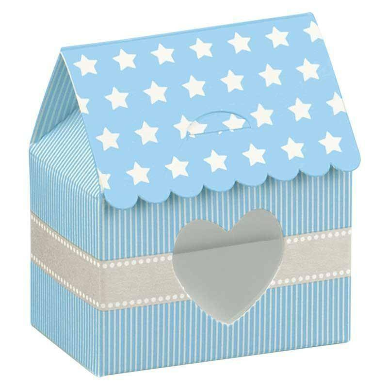 scotton spa casetta star azzurro con finestra a cuore 60x40x70 mm - 10 pz