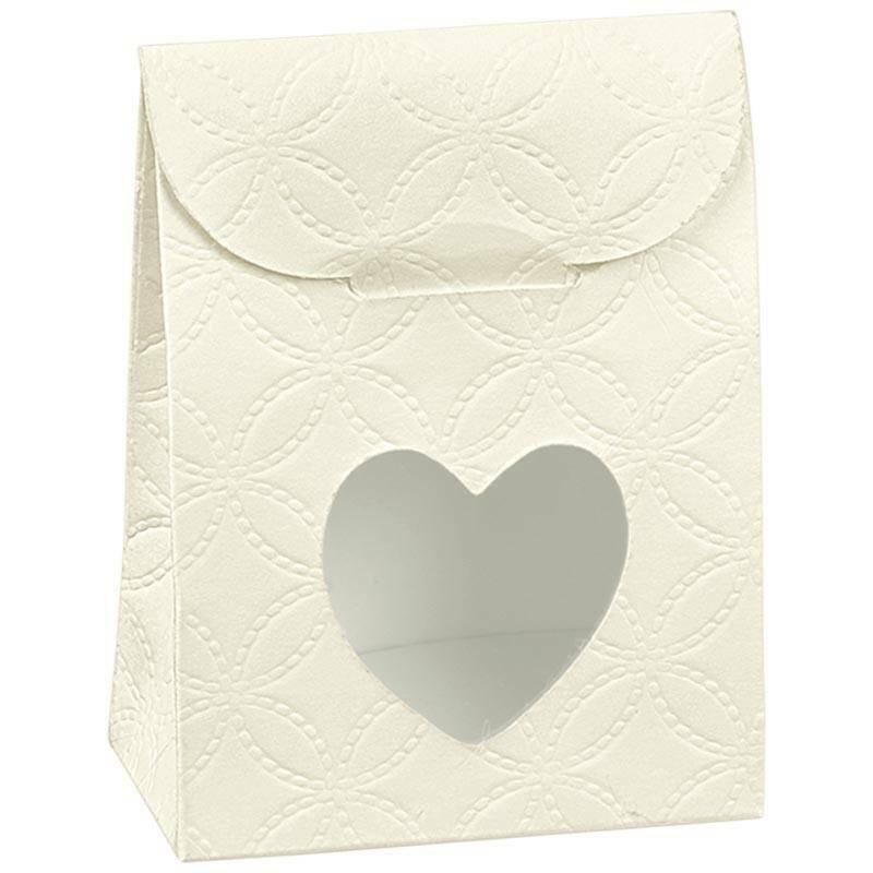 scotton spa sacchetto con finestra a cuore matelasse bianco 60x35x80 mm - 10 pz