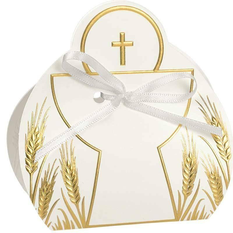 scotton spa calice porta confetti con croce oro 65x40x95 mm - 5 pz
