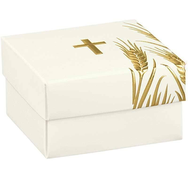 scotton spa scatolina porta confetti fondo e coperchio con croce oro 60x60x30 mm - 5 pz