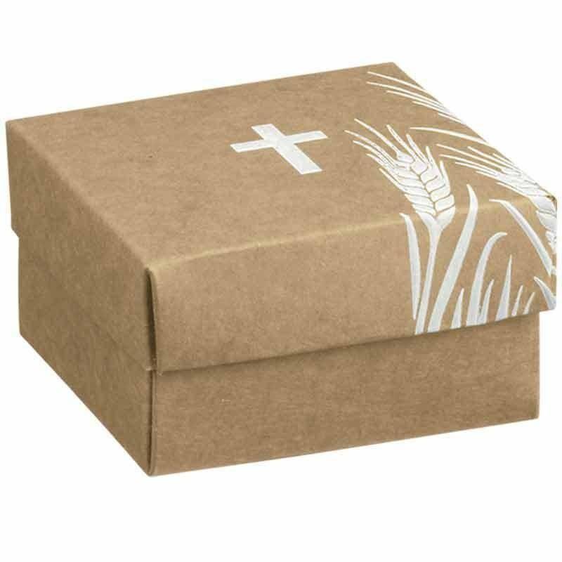 scotton spa scatolina porta confetti fondo e coperchio avana con croce bianca 60x60x35 mm - 5 pz