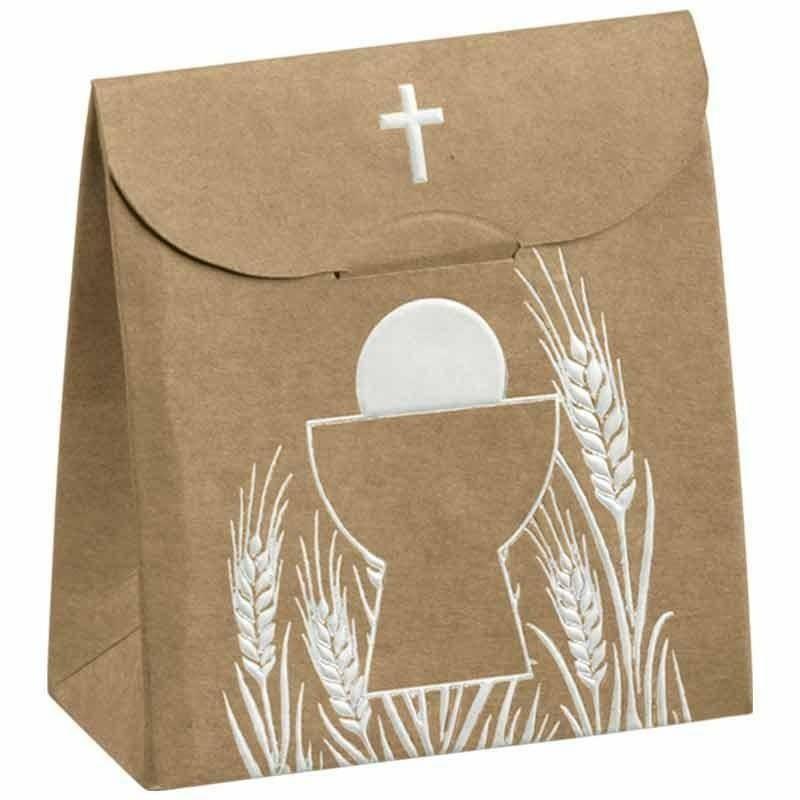 scotton spa sacchetto porta confetti avana con croce 70x35x80 mm - 5 pz