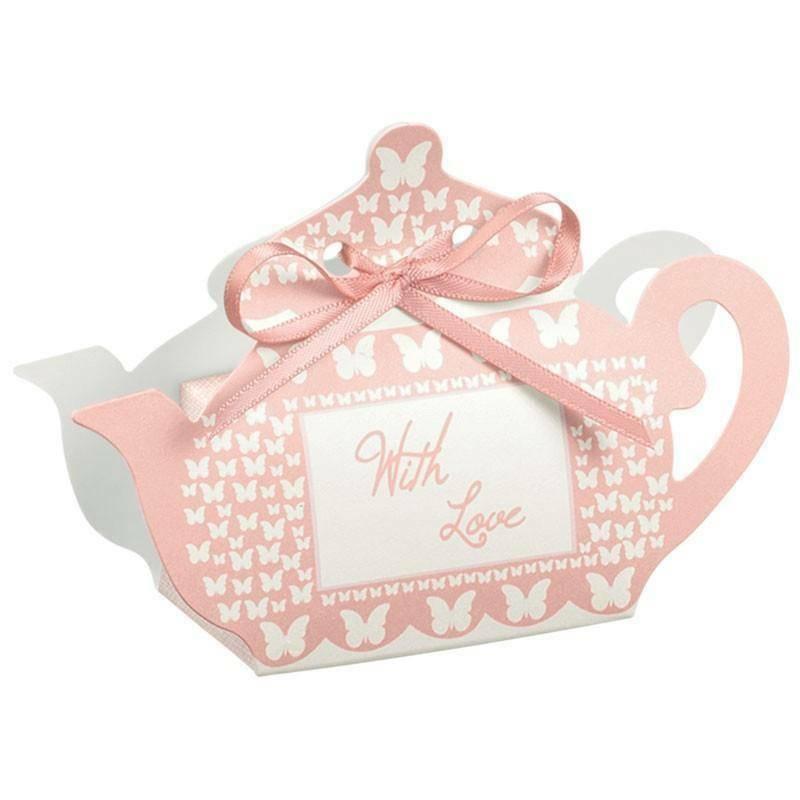 scotton spa scotton spa portaconfetti 60x35xh75 mm in cartoncino a forma di teiera con farfalle rosa - with love
