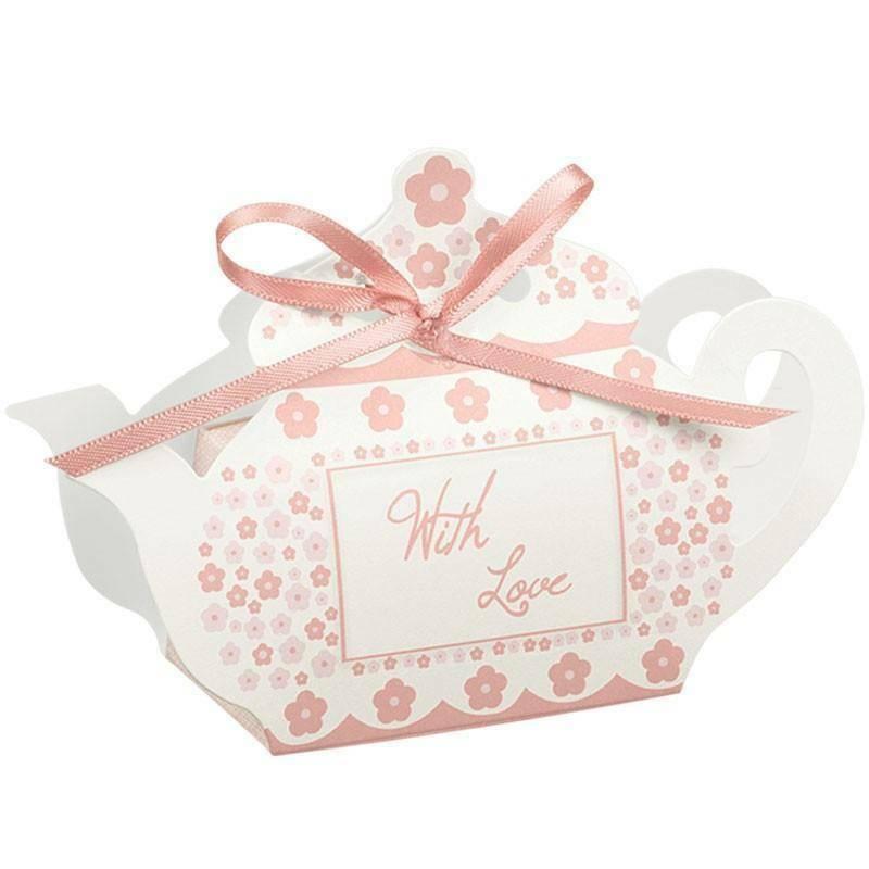 scotton spa scotton spa portaconfetti 60x35xh75 mm in cartoncino a forma di teiera con fiori rosa - with love