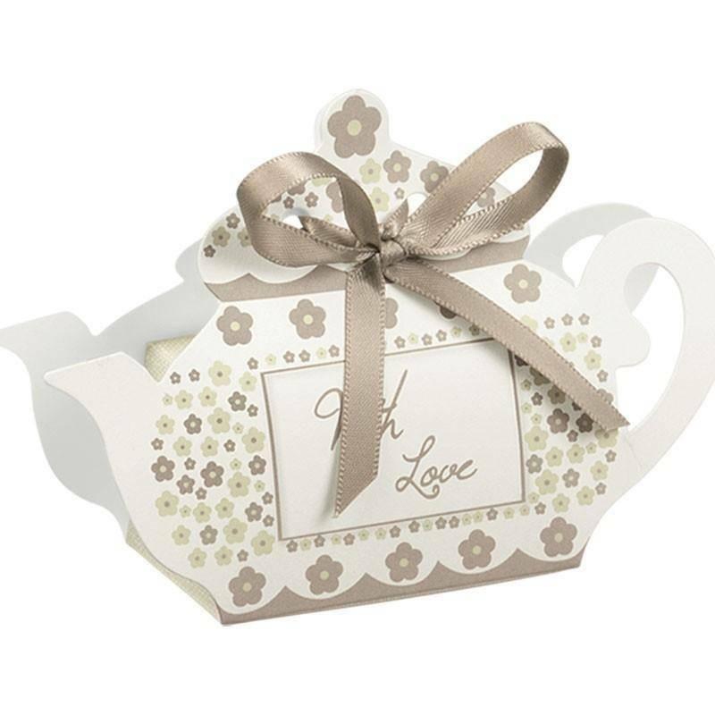 scotton spa scotton spa portaconfetti 60x35xh75 mm in cartoncino a forma di teiera con fiori tortora - with love