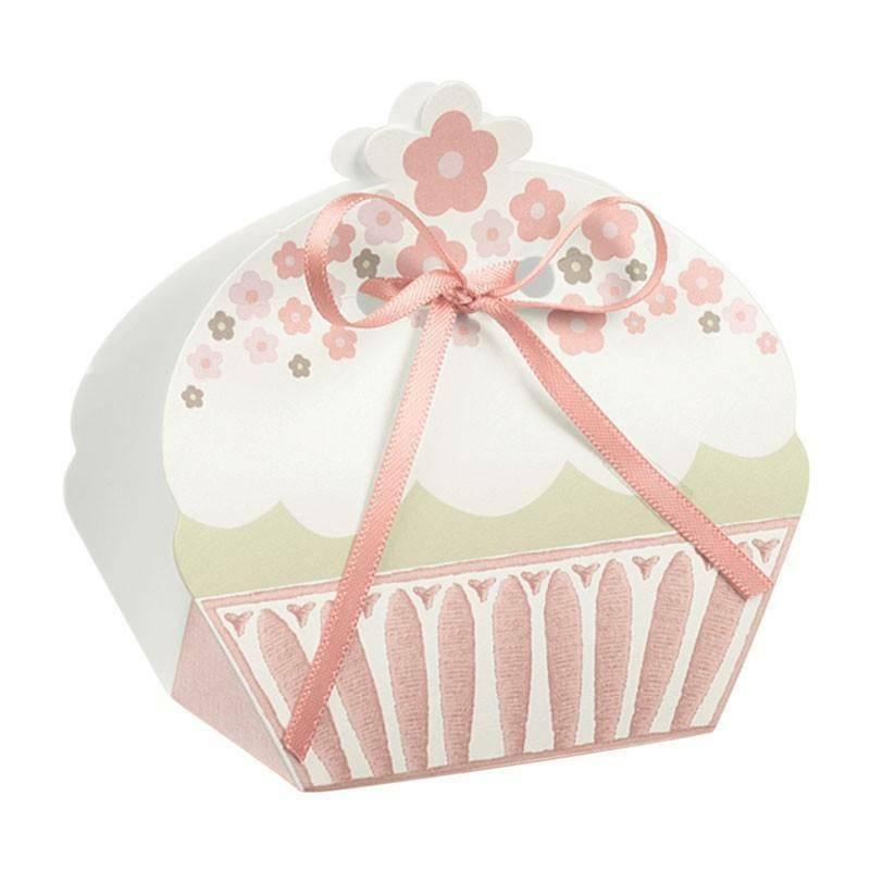 scotton spa scotton spa portaconfetti 50x35x80 mm in cartoncino a forma di cupcake bicolore rosa with love