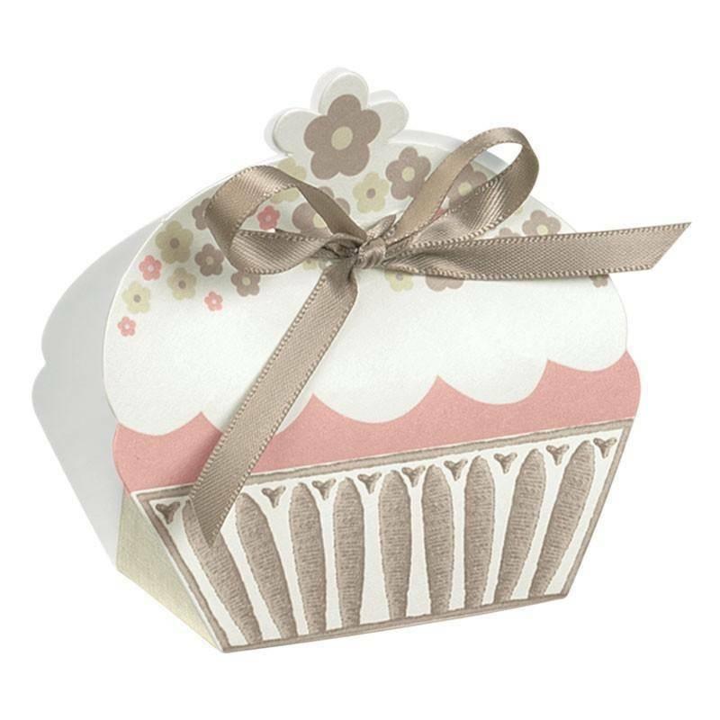 scotton spa scotton spa portaconfett in cartoncino a forma di cupcake bicolore tortora with love 50x35x80 mm