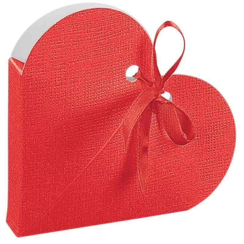 scotton spa scotton spa portaconfetti 65x65x15mm a forma di cuore in cartoncino - seta rosso