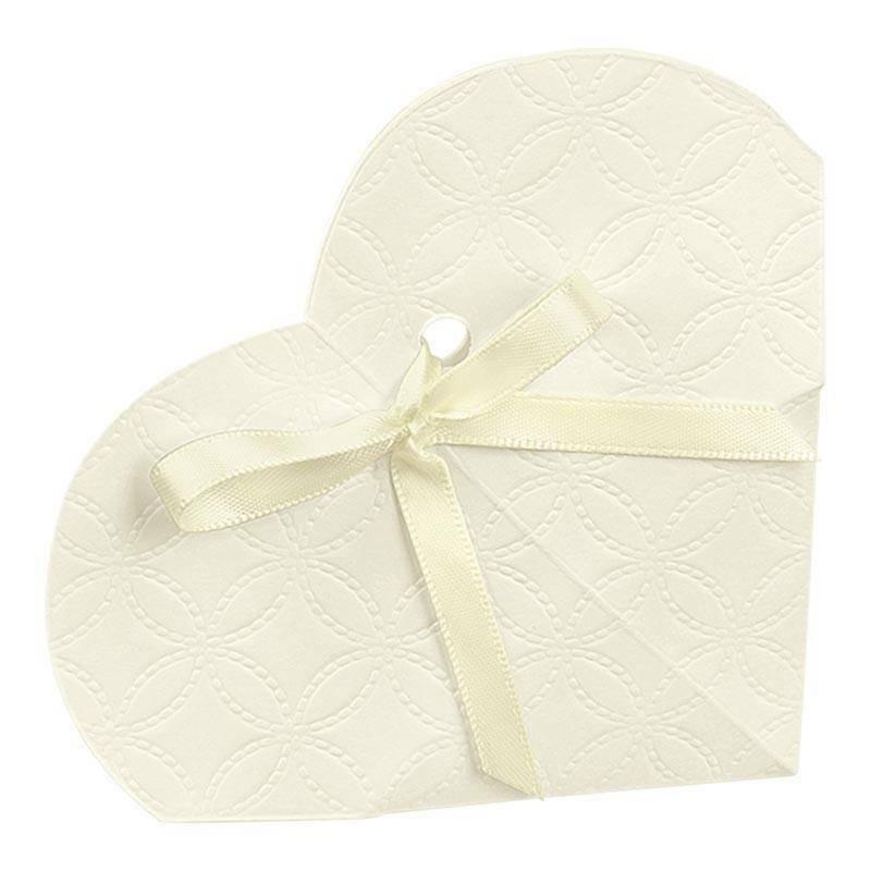 scotton spa scotton spa portaconfetti 50x25mm a forma di cuore in cartoncino - matelasse bianco