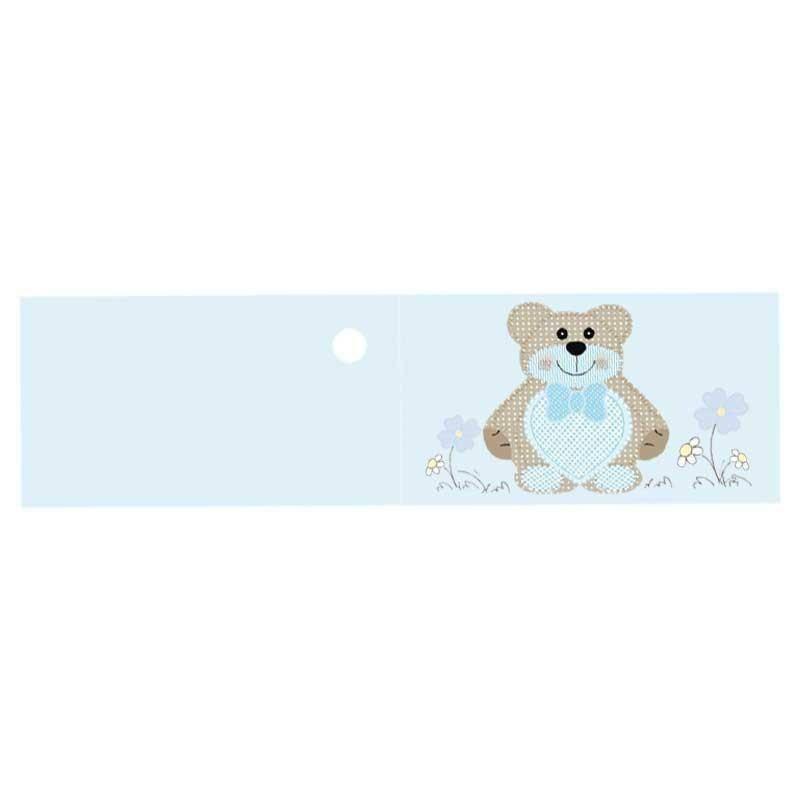 bigliettini 45x25 mm teddy bear azzurro - preforati (20 pz)