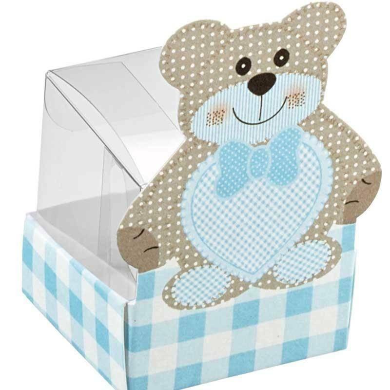 scotton spa cestello porta confetti con teddy bear azzurro 40x40x65 mm - 5 pz