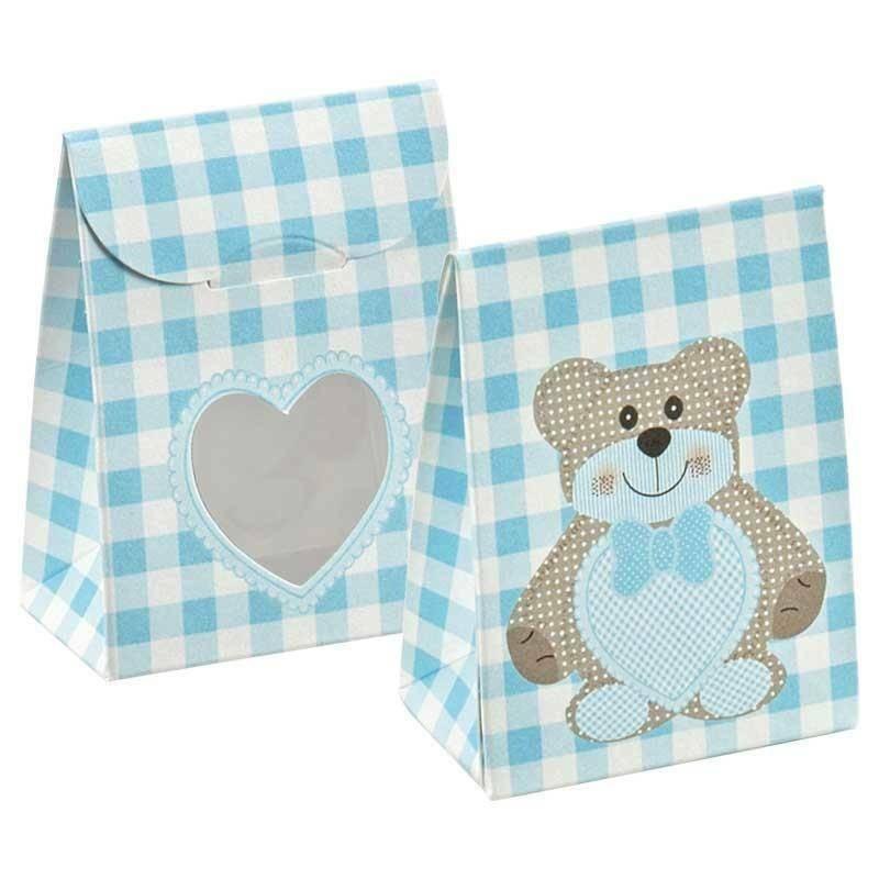 scotton spa sacchetto con finestra a cuore teddy bear azzurro 60x35x80 mm - 10 pz