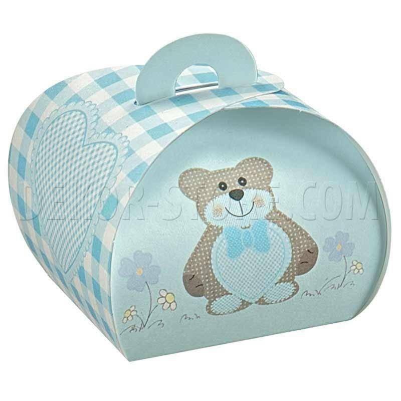 scotton spa scotton spa tortina 40x40x35 mm in cartoncino -teddy bear azzurro