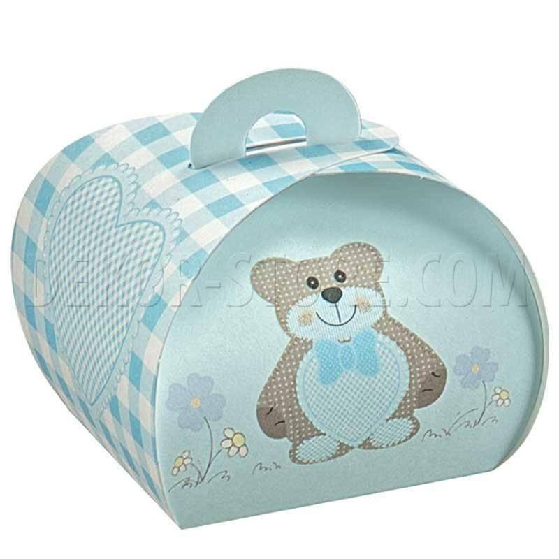 scotton spa tortina in cartoncino azzurro con teddy bear 55x55x50 mm - 10 pz