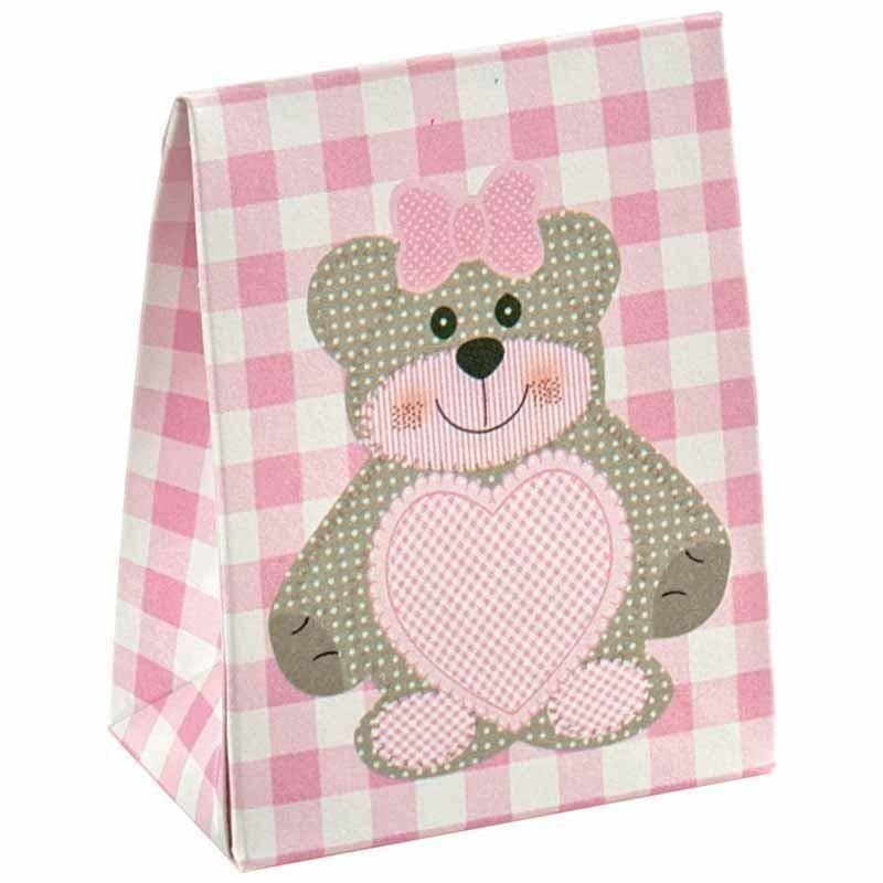 scotton spa sacchetto con finestra a cuore teddy bear rosa 60x35x80 mm - 10 pz
