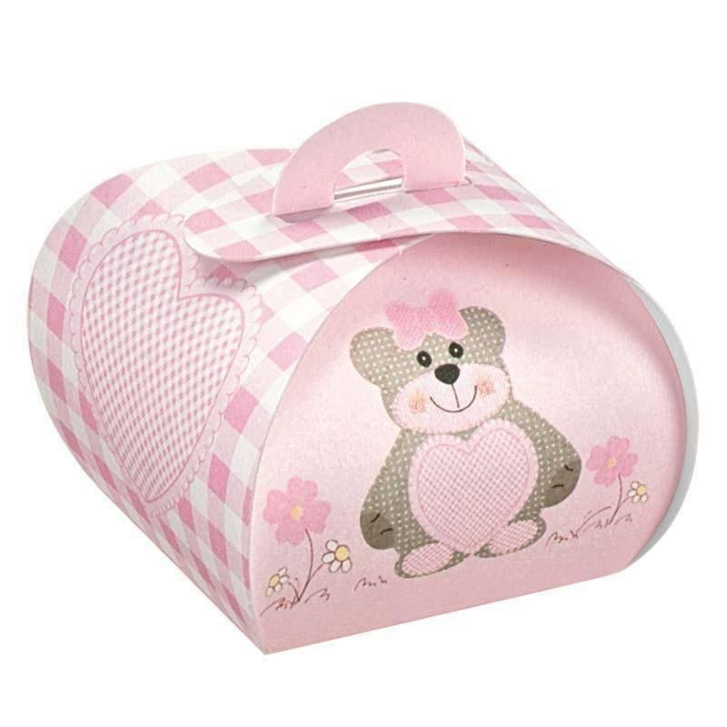 scotton spa tortina in cartoncino rosa con teddy bear 40x40x35 mm - 10 pz
