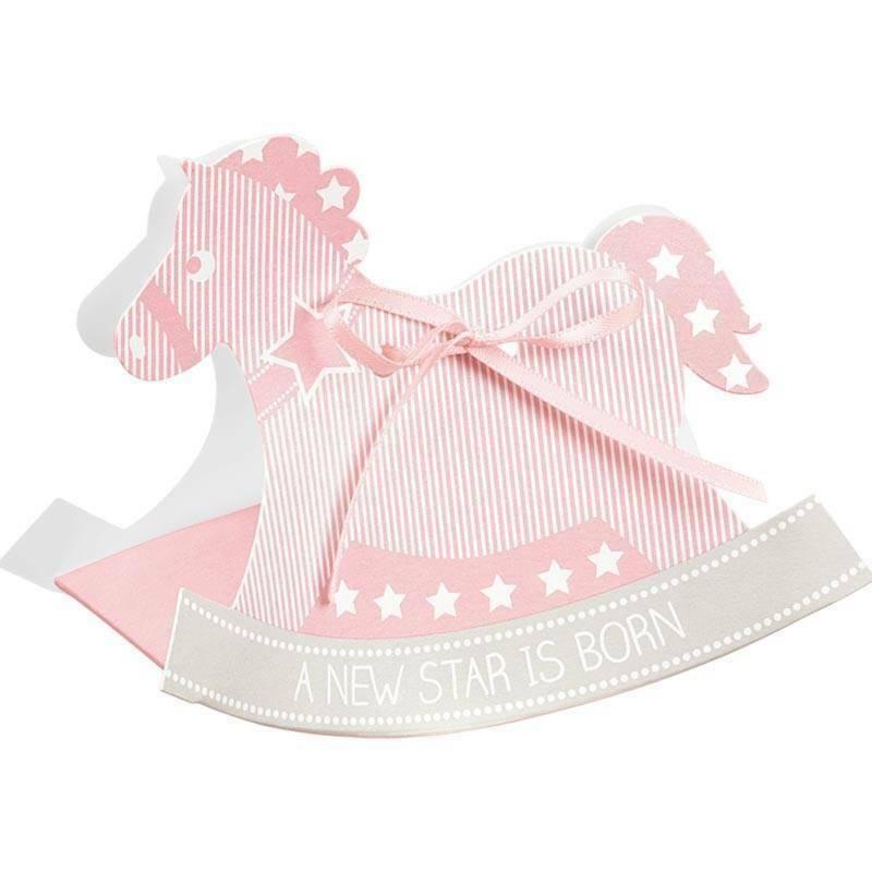 scotton spa scotton spa scatola 120x35x90 mm a forma di cavallo a dondolo - star rosa