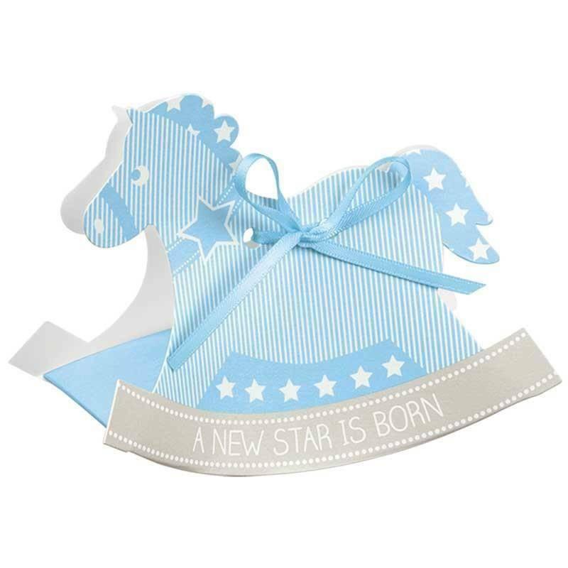 scotton spa cavallo a dondolo porta confetti star azzurro 120x35x90 mm - 10 pz